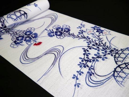竺仙綿絽浴衣反物「めんろ 白地に流水なでしこ」 ちくせん 宮崎あおいさん着用柄 送料無料