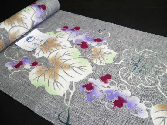 竺仙浴衣反物「綿紬 灰色地に 多色のぶどう蔦 ぼかし」七緒和楽好きに ちくせん 紬ゆかた 新作