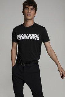 DSQUARED2(ディースクエアード)ミラーロゴプリントティーシャツ ブラック