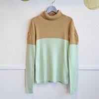 frankygrow swell shoulder 2tone high-neck knit