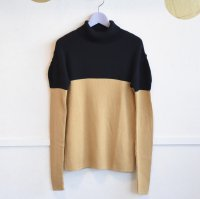 frankygrow swell shoulder 2tone high-neck knit