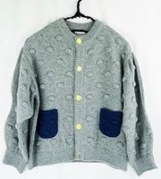 WAVE CUT SELEVES POPCORN KNIT  CARDIGAN《GY-NY/M》
