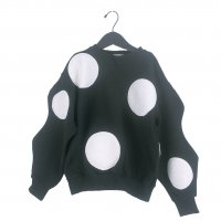 UNEVEN BOA DOTS SWEATSHIRTS【WOMEN/BLACK-WHITE DOTS】
