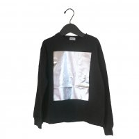 SQUARE FOIL L/S TEE【WOMEN/BLACK-SILVER】