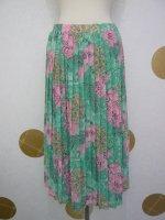 △▼ヨーロッパ古着▼△ピンク×グリーンの総柄プリーツロングスカート