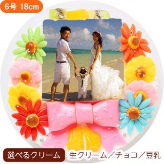 デコ盛りフォトケーキ【6号 18cm】6人〜8人用