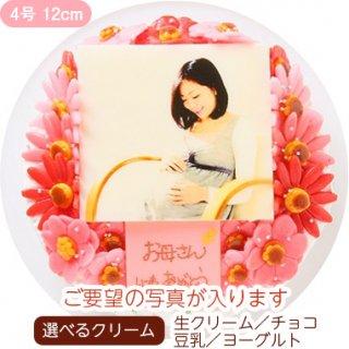 お花いっぱいフォトケーキ【4号 12cm】1人〜3人用
