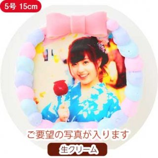 カラフルクリームフォトケーキ【5号 15cm】3人〜5人用