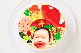 お食い初め写真ケーキ(フォトケーキ)【5号 15cm】3人〜5人用