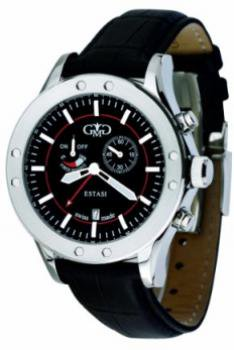 Gio Monaco Men's 772-F Estasi Black Dial Leather Alarm Watch