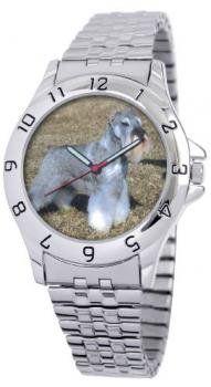 American Kennel Club Men's D1724S243 Miniature Schnauzer Silver-Tone Expansion Band Watch
