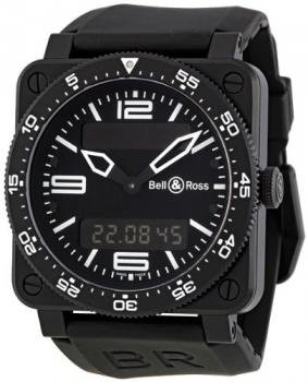 Bell and Ross Type Aviation Black Dial Chrono- Alarm 42MM Mens Watch BR-03-TYPE-AVIATION