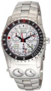 Chase-Durer Men's 220.9WW6-BR21 Trident FCX 2 Alarm Chronograph White Dial Watch
