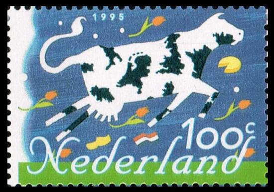 EUをイメージした牛のおしゃれな牛の切手/オランダ1995年1種完 動物、花、国旗