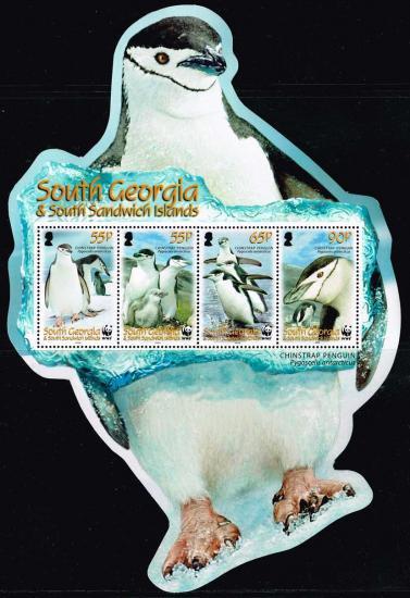 ペンギンの形の小型シート/サウスジョージア2008年 WWF・鳥