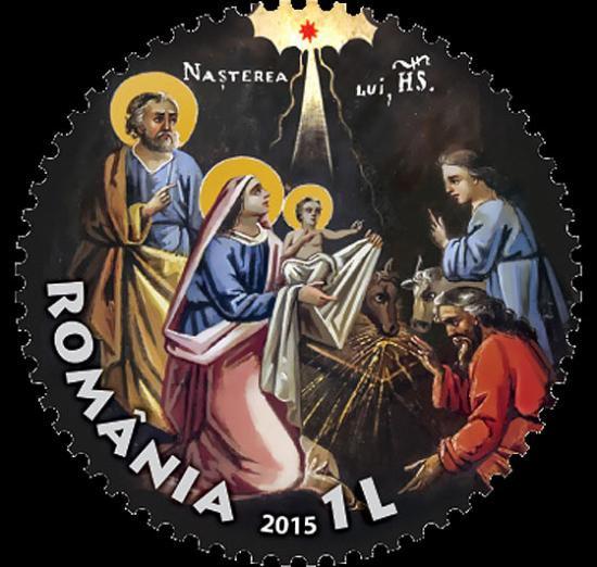 丸形切手☆クリスマス切手/ルーマニア2015年1種完 キリスト教・変形切手