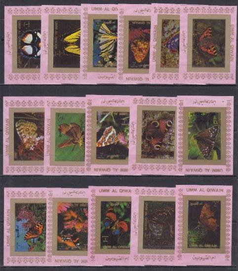 【デラックスシート】蝶の切手/ウムアキワイン16種 昆虫