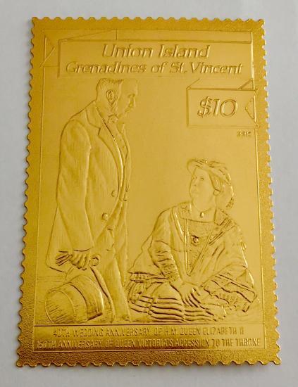 金箔切手/エリザベス女王結婚40年/ユニオン島1993年1種