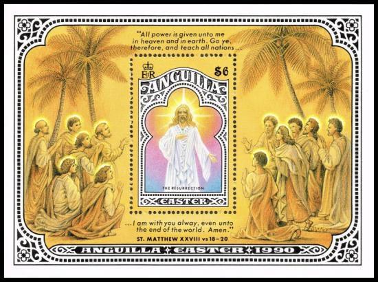 イースターの切手 アンギラ1990年小型シート キリスト教