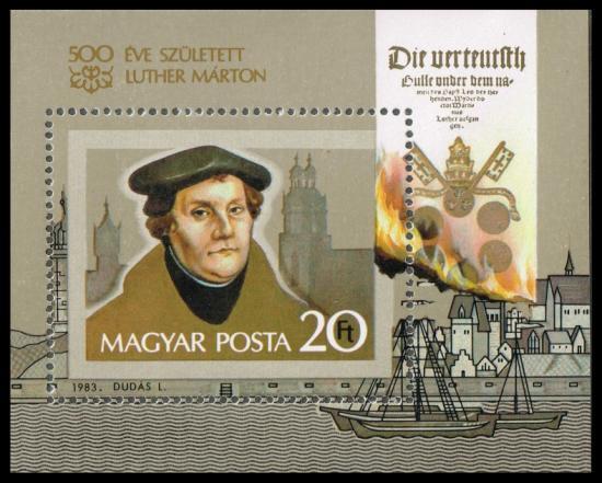 宗教改革ルターの切手 ハンガリー1983年小型シート 世界史・キリスト教