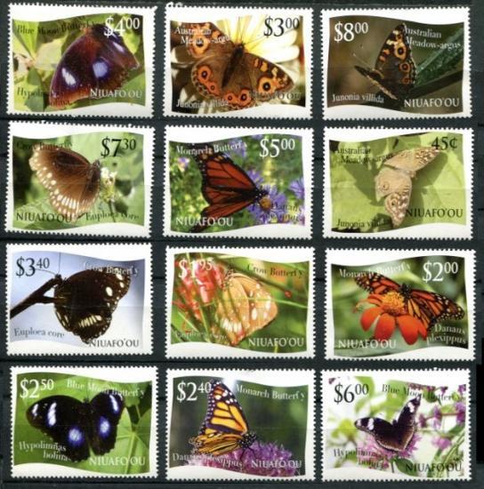 【特価】蝶の切手 ニウアフォオウ2012年12種完(美品) 昆虫