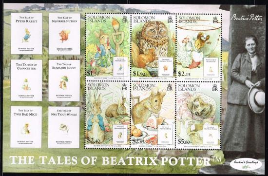 ピーターラビットなどベアトリクス・ポター作品の切手 ソロモン諸島2006年小型シート