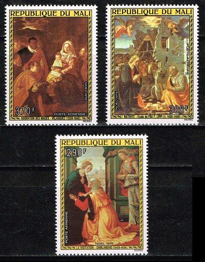 クリスマス・絵画の切手 マリ1975年3種完