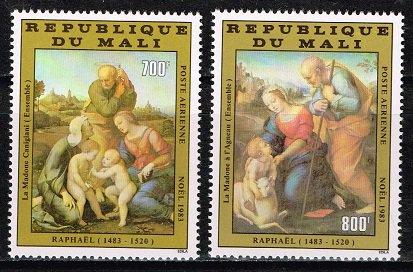 ラファエロの絵画の切手 マリ1983年2種完 クリスマス