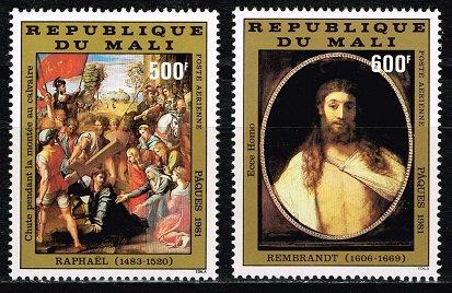 ラファエロとレンブラントの絵画の切手 マリ1981年2種完 イースター