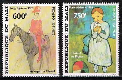 ピカソ生誕100年の切手 マリ1981年2種完 絵画・馬
