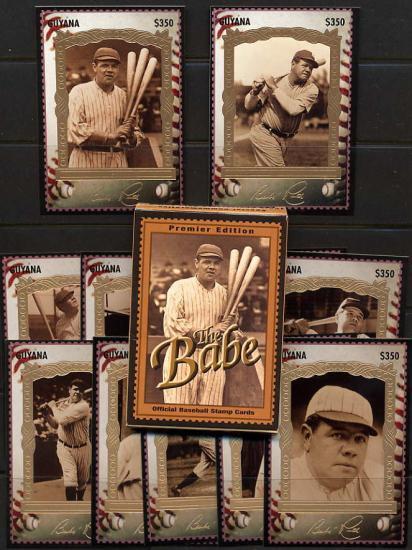 【特価】野球カード型の切手☆ガイアナ1995年12種完 ベーブ・ルース、金箔