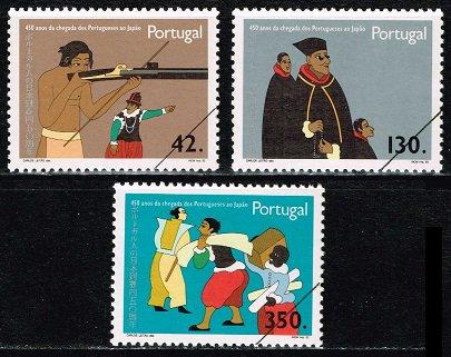 種子島へ鉄砲伝来450年の切手 ポルトガル1993年3種完【見本切手】