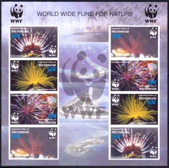 【無目打】世界自然保護基金(WWF)の切手 ミクロネシア発行ミニシート ウミシダ、海藻、植物