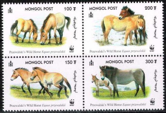 馬の切手 モンゴル2000年4種完田型 世界自然保護基金(WWF)、動物、モウコノウマ