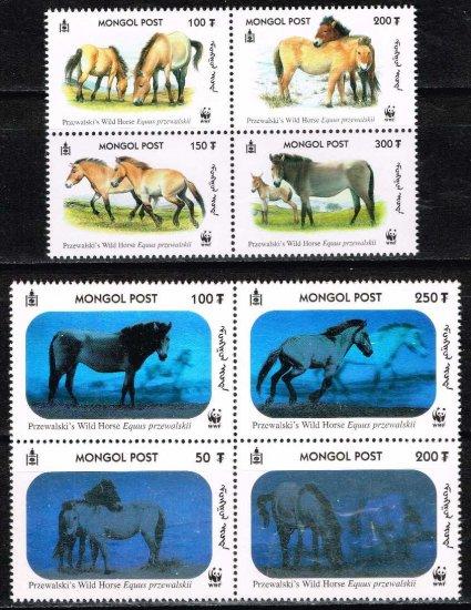 ☆ホログラム切手☆モンゴル2000年8種完 世界自然保護基金(WWF)、動物、モウコノウマ