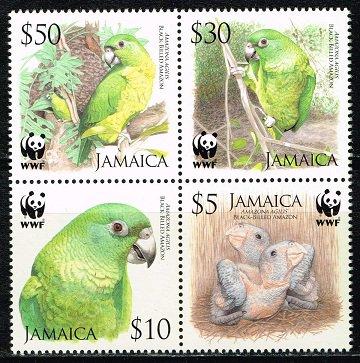 オウムの切手 ジャマイカ4種完田型 世界自然保護基金(WWF)、鳥