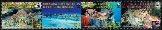 イセエビの切手 グレナダ・グレナディーン諸島4種連刷完 世界自然保護基金(WWF)、海老