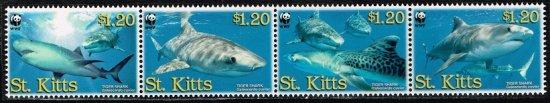 イタチザメの切手 セントキッツ4種連刷完 世界自然保護基金(WWF)、鮫、魚