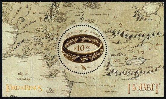 金箔切手☆映画「ロード・オブ・ザ・リング」「ホビット」の切手 ニュージーランド2016年小型シート 指輪物語、変形…