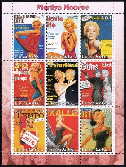 マリリン・モンローの切手 エリトリア2003年9種連刷シート ハリウッド、女優