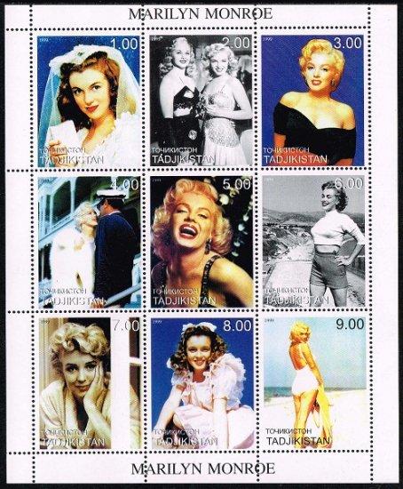 マリリン・モンローの切手 タジキスタン1999年9種連刷シート ハリウッド、女優