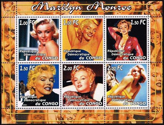 マリリン・モンローの切手 コンゴ民主2001年6種連刷シート ハリウッド、女優