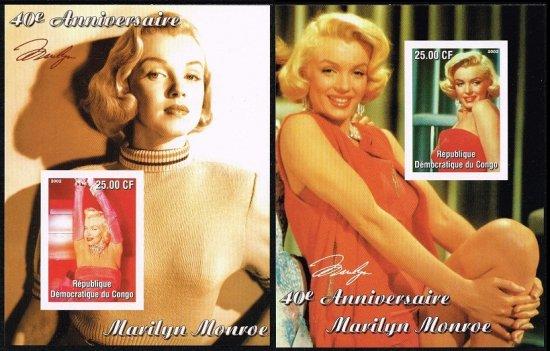 【無目打】マリリン・モンローの切手 コンゴ民主2002年小型シート2種 ハリウッド、女優
