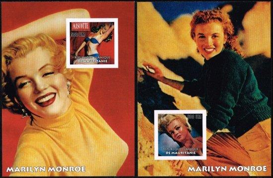 【無目打】マリリン・モンローの切手 モーリタニア2003年小型シート2種 ハリウッド、女優
