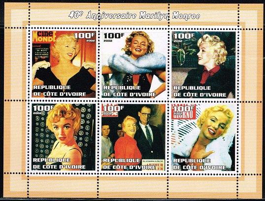 マリリン・モンローの切手 コートジボワール2002年6種連刷シート ハリウッド、女優