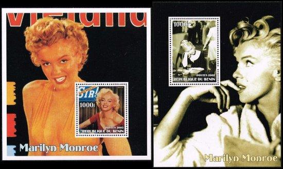 マリリン・モンローの切手 ベナン2002・03年小型シート2種 ハリウッド、女優