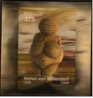 図案が立体的に見える切手/オーストリア2008年・ウィレンドルフのビーナス1種