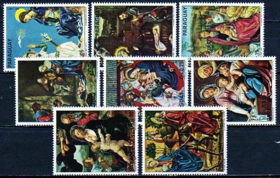 パラグアイ1975年・クリスマス・絵画・宗教・キリスト教・8種完