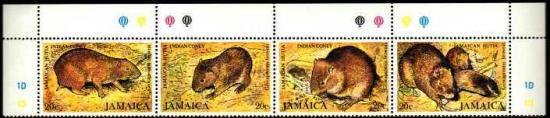 動物の切手/ジャマイカ1981年発行・4種連刷完