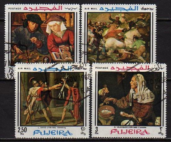 【処分品】絵画切手・フジェイラ1968年4種(済)
